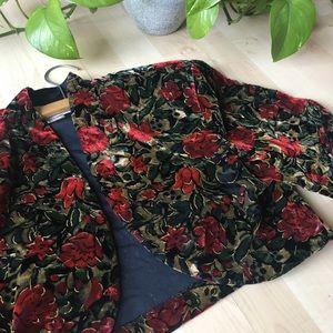 VINTAGE 80s/90s Velvet Cropped Floral Blazer M/L